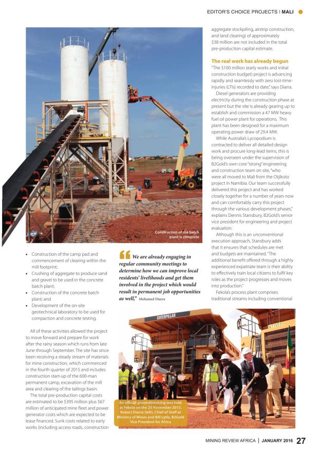 Mining Review Africa Issue 1 2016