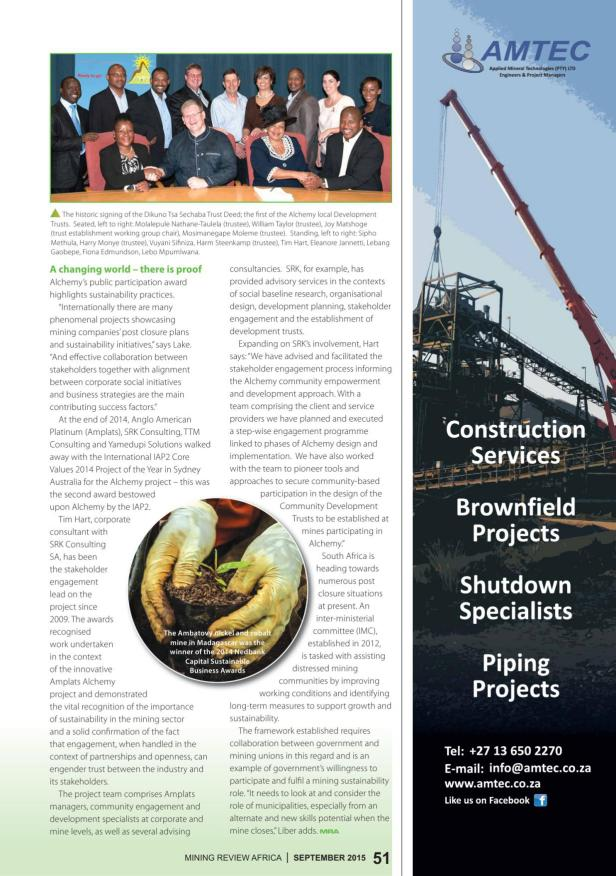 Mining Review Africa Issue 9 2015